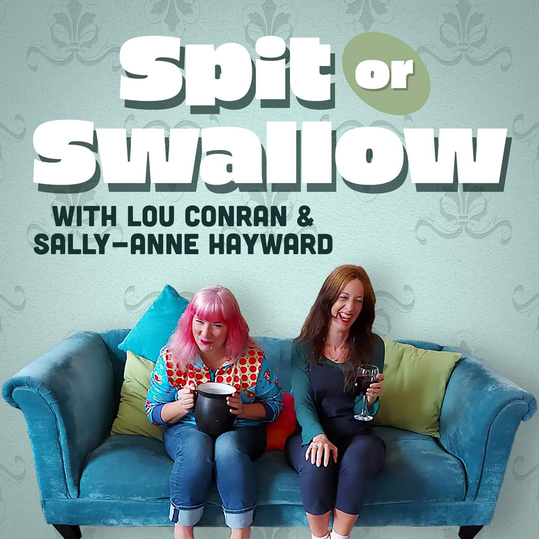Lou Conran and Sally-Anne sat on a blue settee